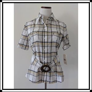 NWT! Lafayette 148 Plaid Blouse with Belt Sz 8